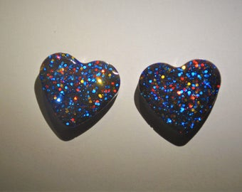 Red and blue glitter heart earrings