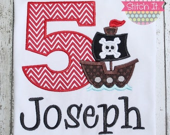 Pirate Ship appliqued Birthday Shirt - Boys - Birthday Party