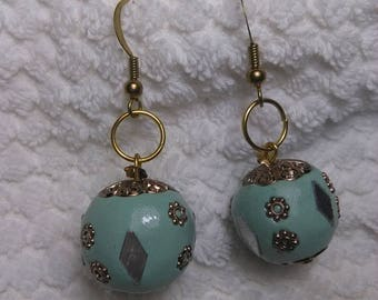 Sea Green and Antique Gold Earrings
