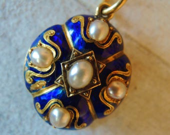 Antique Victorian Blue Enamel Guilloche Locket with Seed Pearls