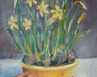 Early Spring narcussus oil painting