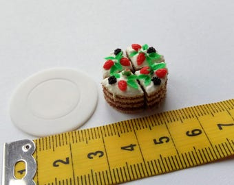 Polymer clay miniature strawberry cake