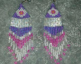 Native American hand beaded earrings