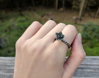 Sterling silver succulent ring