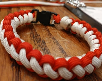 Red and white woven cord bracelet