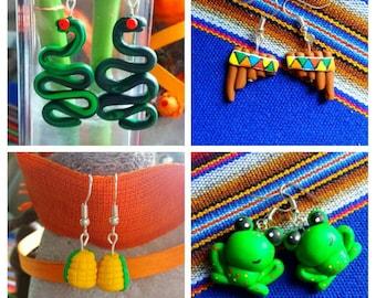 Funny earring corn snake flute froggy fimo