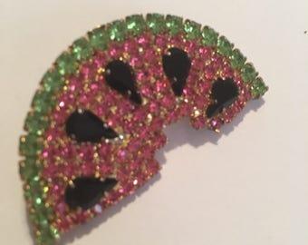 Vintage figural watermelon brooch prongset rhinestones C-hooked