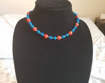 Orange Blue and Gold Necklace