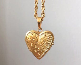 Antique Rolled Gold Hart Locket with Dotted Pattern: including matching chain