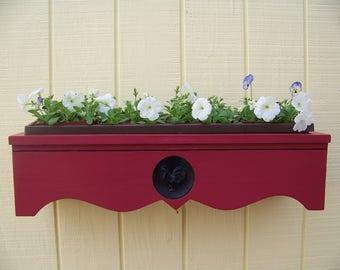 Cedar Window Box with Custom Rooster Detail