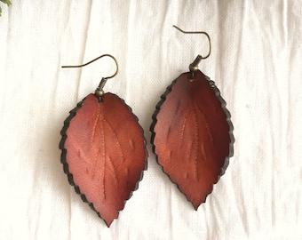 Leather Leaf Earrings - Medium