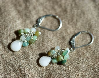Peruvian opal and sterling silver earrings