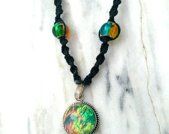When You See It: Lab Opal Hemp Necklace
