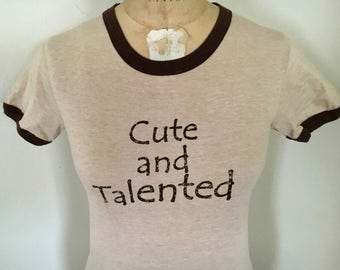 "Teeze ""Cute and Talented"" Women's Tan Ringer T-Shirt"