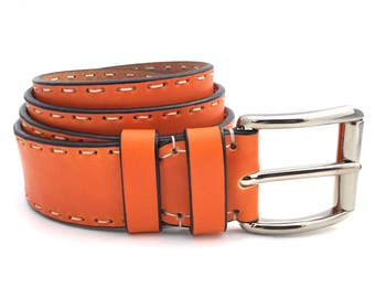 Orange Leather Belt - Handmade Full Grain Leather Belt