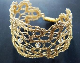 Lace bracelet, bobbin lace bracelet, lace jewelry, handmade jewelry, handmade bracelet, handmade lace, bobbin lace jewelry,Swarovski crystal