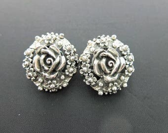 Vintage Tortolani Clip Earrings - Ornate Rose Earrings In Antique Silver Tone, Signed Designer Costume Jewellery