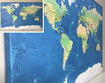 6th Anniversary Gift For Him Relief World Map Detailed 24x36 or 30x40 Labeled World Push Pin Map Mounting Options Free Shipping