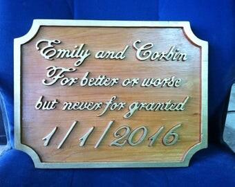 Custom carved wood wedding plaque // wedding gift //