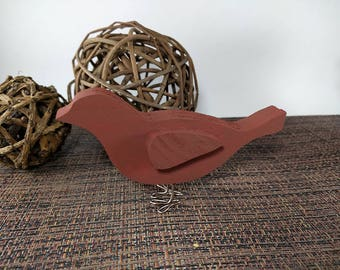 Small Wooden Bird with Wire Legs