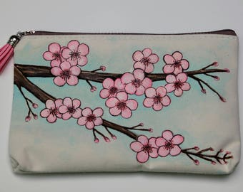 Cherry Blossoms,  Hand-Painted Bag