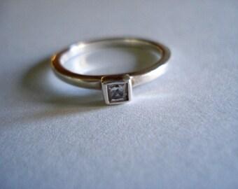 Silver Solitaire Rhinestone Ring