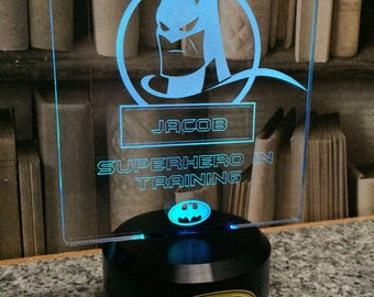 Personalised Night Light, Perfect Gift, DC Comic Superhero including Batman, Superman and Hulk