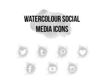 Watercolour Social Media Icon Set