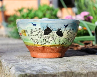 Handmade earthenware sheep bowl - Glazed & decorated