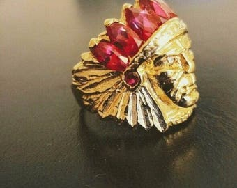 14K Gold Indian Head Ring