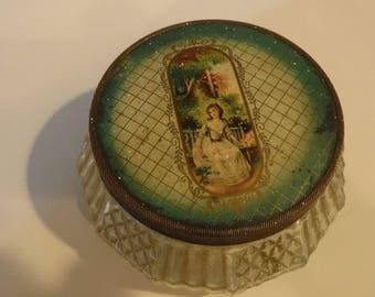 Antique glass powder jar vanity Gimbel's woman shown on metal lid, has sticker