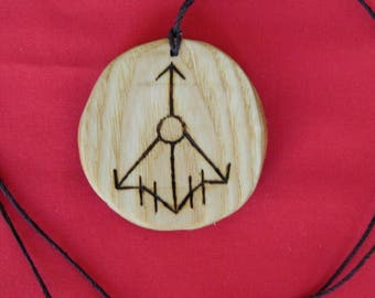 "Wooden Rune-bind amulet talisman protection cleaning  ""Thor's hammer"" pyrography hand made Asatru Wicca Pagan elder FUTHARK"
