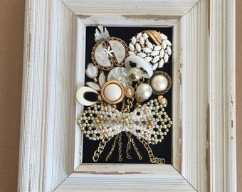 Jewelry Wall Art Jewelry Framed Wall Decor Framed Jewelry Picture Vintage Jewelry ArtFramed Jewelry Art Vintage and Rhinestones Pearl Look