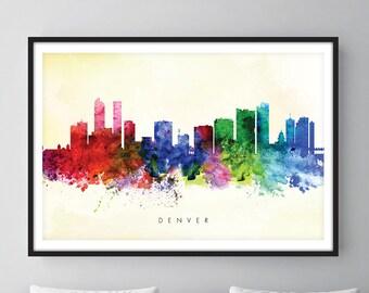 Denver Skyline, Denver Colorado Cityscape Art Print, Wall Art, Watercolor, Watercolour Art Decor