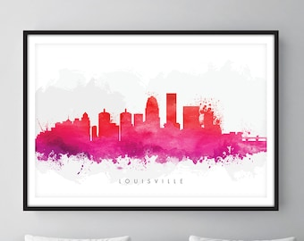 Louisville Skyline, Louisville Kentucky Cityscape Art Print, Wall Art, Watercolor, Watercolour Art Decor