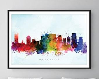 Nashville Skyline, Nashville Tennessee  Cityscape Art Print, Wall Art, Watercolor, Watercolour Art Decor