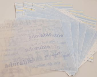 Bumper Pack of 12x12 Scrapbooking Paper Baby Boy Themed Design