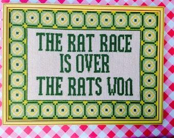 Vintage Needlepoint Art,  Framed Quote