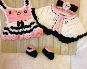 Crochet newborn skirt set, Black/pink/white baby girl summer sundress,shrug,slippers, and headband with adorable cow buttons, baby clothes
