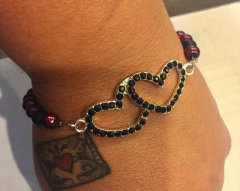 Double Heart Beaded Bracelet