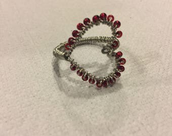 Wire wrapped beaded heart ring