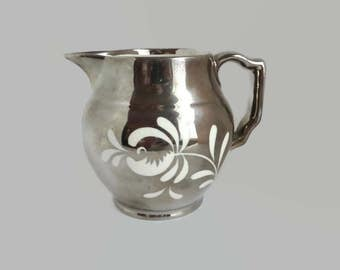 Gray's Pottery Silver Lustre Pitcher, Vintage English Hand Painted Lustreware