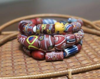 BMM1. Wrap bracelet of antique Venetian red glass trade beads, Marrakech