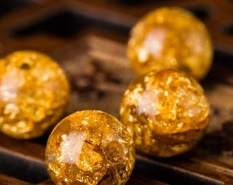 Gold flakes resin beads