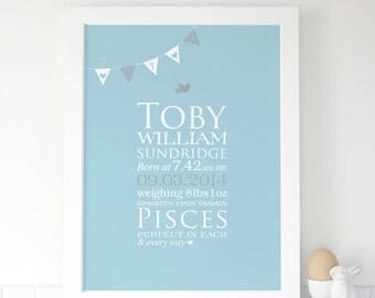 Personalised Baby Birth Bunting Print