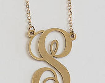 Brass or Silver Initial Necklace. Jbloom.