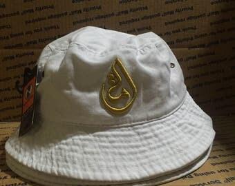 White / Gold Stitching | Bucket Hat