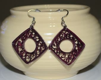 paper quilled brown square earrings