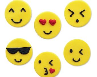 Edible Emoji Emoticon Sugar Cake Topper Cupcake Decoration