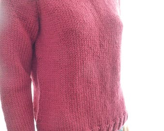 knit wool sweater for women, bordeaux, handmade knitwear, ready to ship, free shipping